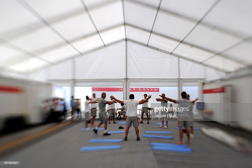 Luna Rossa team members train before the race during America's cup World Series Naples on April 19, 2013 in Naples, Italy.