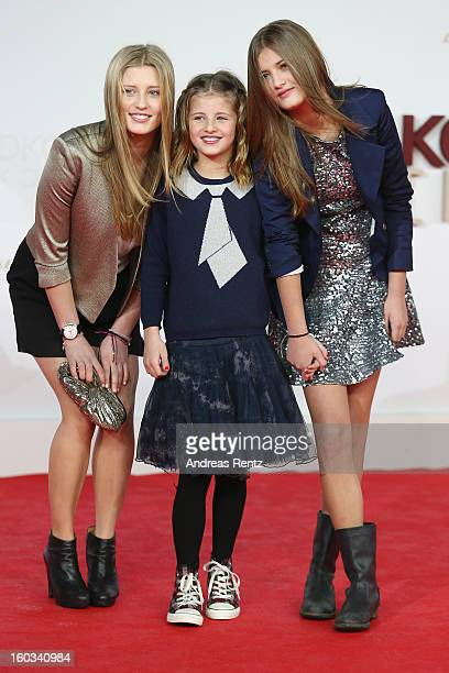 Luna Schweiger Emma Schweiger and Lilly Schweiger attend 'Kokowaeaeh 2' Germany Premiere at Cinestar Potsdamer Platz on January 29 2013 in Berlin...