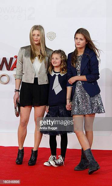 Luna Schweiger Emma Schweiger and Lilly Schweigerattend 'Kokowaeaeh 2' Germany Premiere at Cinestar Potsdamer Platz on January 29 2013 in Berlin...