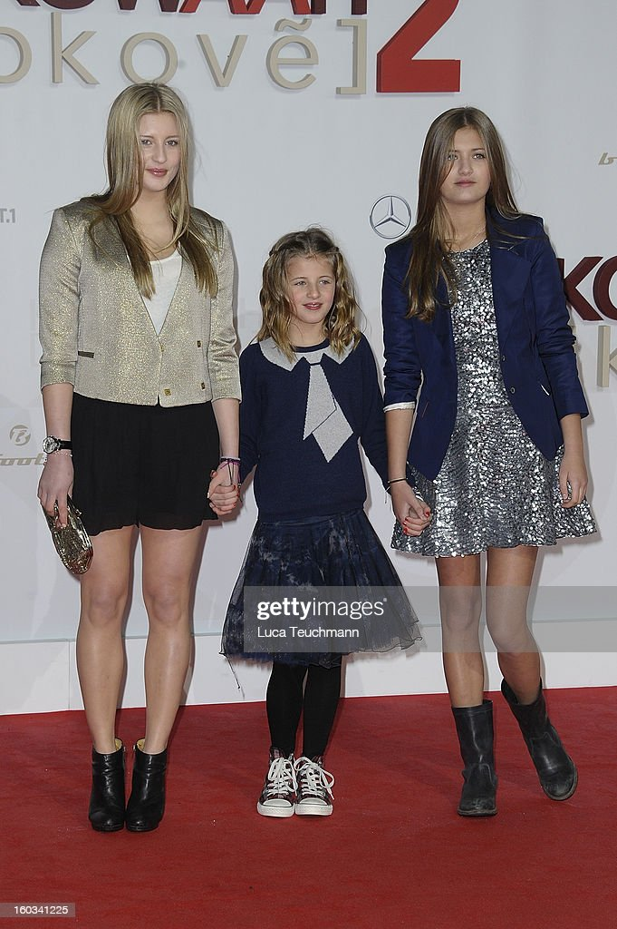 Luna Schweiger, Emma Schweiger and Lilly Schweiger attend 'Kokowaeaeh 2' Germany Premiere at Cinestar Potsdamer Platz on January 29, 2013 in Berlin, Germany.