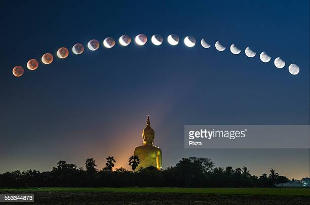 Lunar eclipse over Buddha