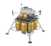 Lunar Lander Spacecraft isolated on white background. 3D render