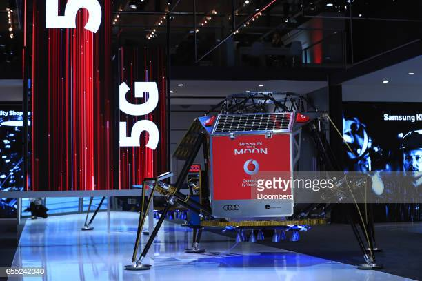 A lunar 'Mission to the Moon' module connected by Vodafone wireless sits on display on the Vodafone Group Plc pavilion promoting 5G technology at the...