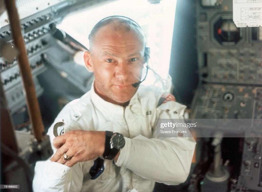 Lunar Module pilot Edwin E. Aldrin Jr on board the Lunar Module during the Apollo 11 lunar landing mission, 20th July 1969.