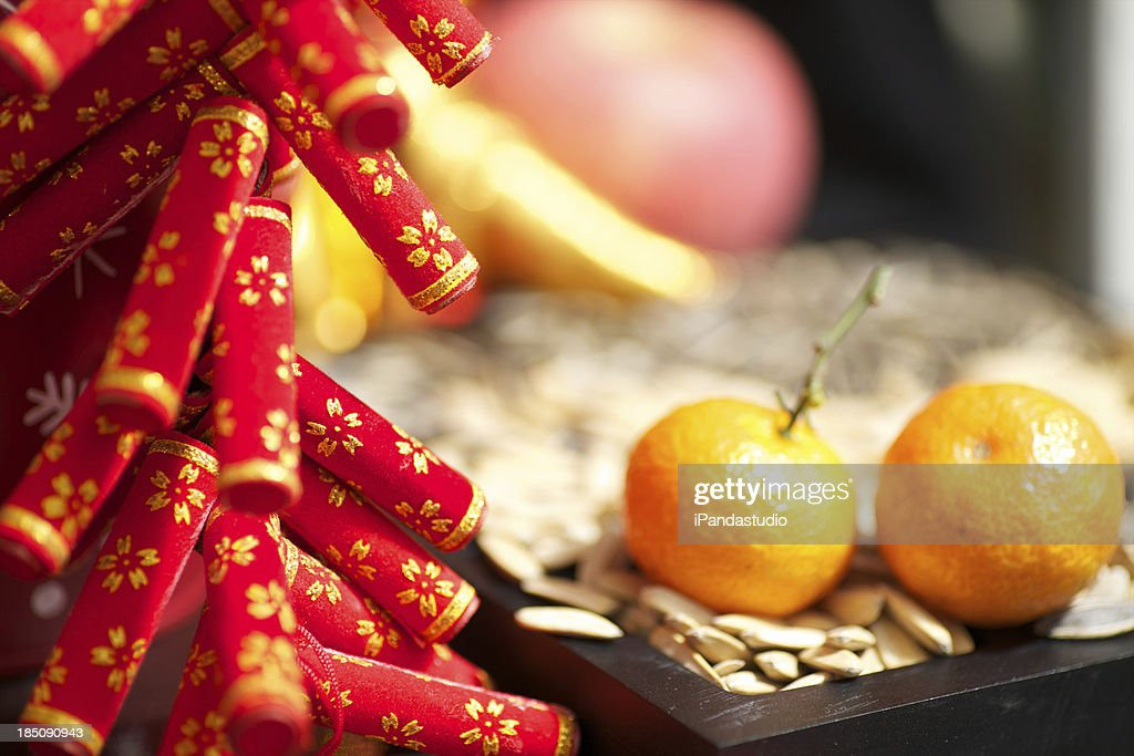 Lunar new year decorations and food stock photo getty images - Lunar new year decorations ...