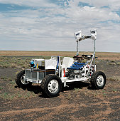 September 2, 2003 - View of a 1-G Lunar Rover Vehicle during testing for future Science, Crew, Operations and Utility Testbed (SCOUT) activities at Meteor Crater, Arizona.