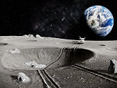 Traces of the moon rover through a crater on the Moon, the planet earth in the background, 3D render
