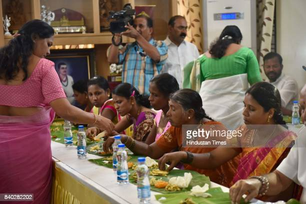 Lunch being served to Dalit families at BJP Karnataka state president BS Yeddyurappa's residence on August 28 2017 in Bengaluru India Earlier he had...