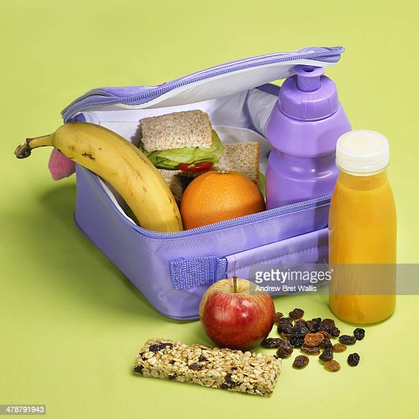 Lunch box packed with healthy food and drink