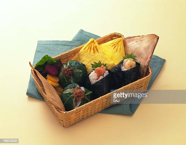 Lunch Box, Rice Ball, High Angle View