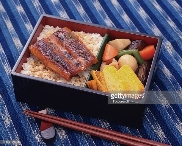 Lunch Box, Rice Topped with Grilled Eel, High Angle View