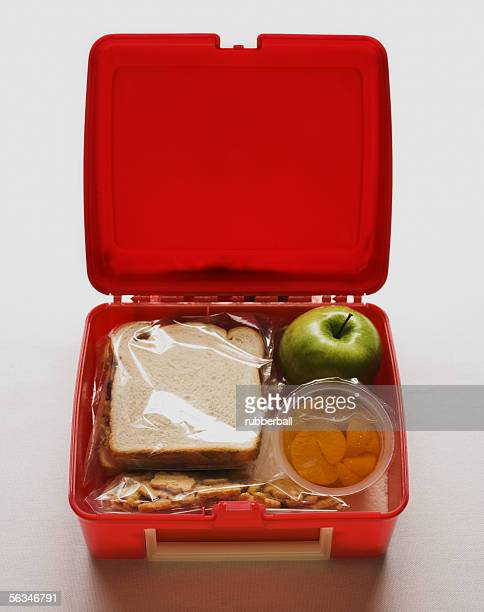 A lunch box with a sandwich and snacks