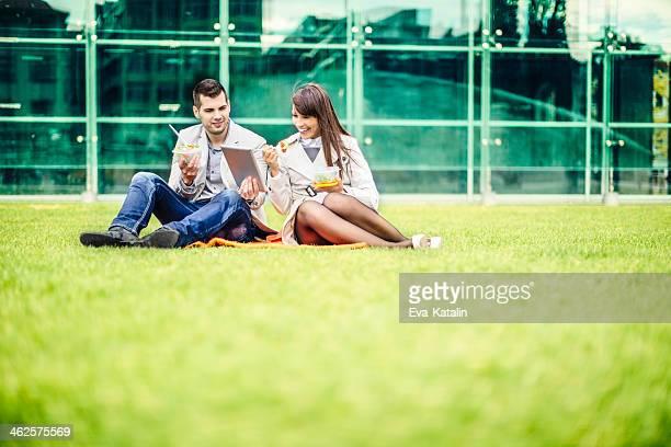 Lunch break outdoors
