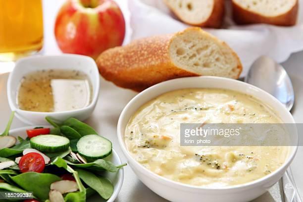 lunch - broccoli cheddar soup, bread,salad