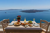 Lunch by the sea, Greece, island  Santorini