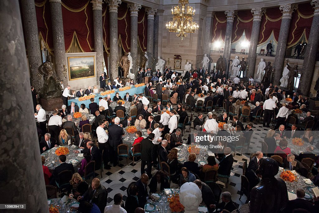 Lunch is served at the Inaugural Luncheon in Statuary Hall on Inauguration day at the U.S. Capitol building January 21, 2013 in Washington D.C. U.S. President Barack Obama was ceremonially sworn in for his second term today.