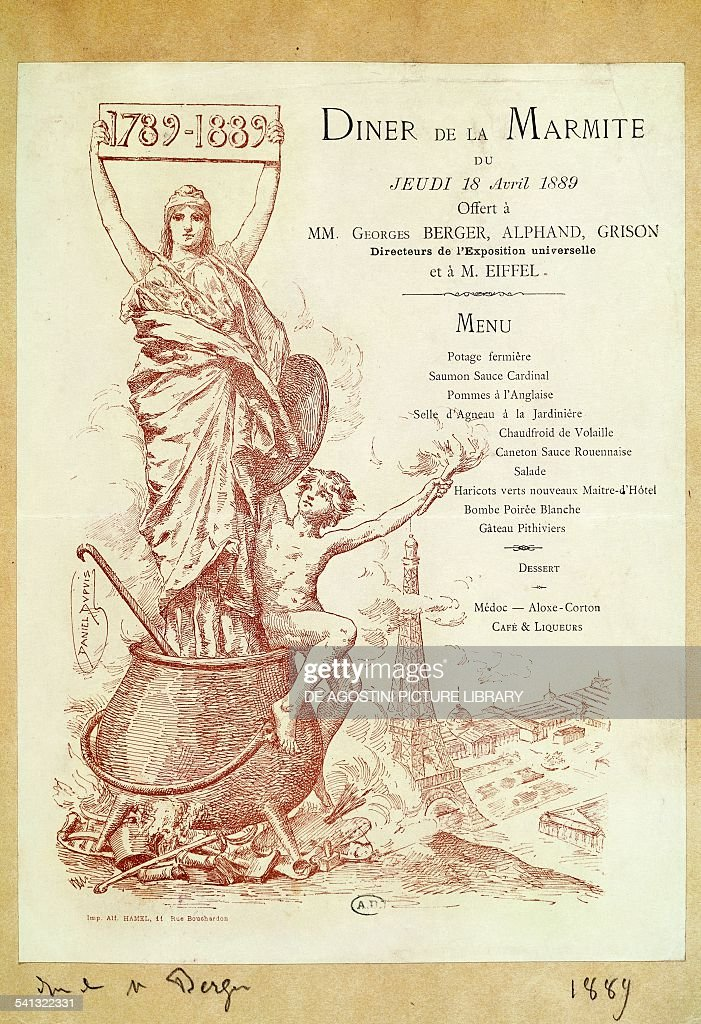 Lunch menu offered to the directors of the Universal exposition, Berger, Alphand and Grison, and Alexandre Eiffel on April 18, 1889, Paris. France, 19th century. Paris, Bibliothèque Des Arts Decoratifs
