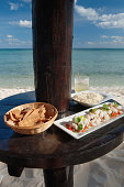 Lunch of cerviche on the beach at Akumal