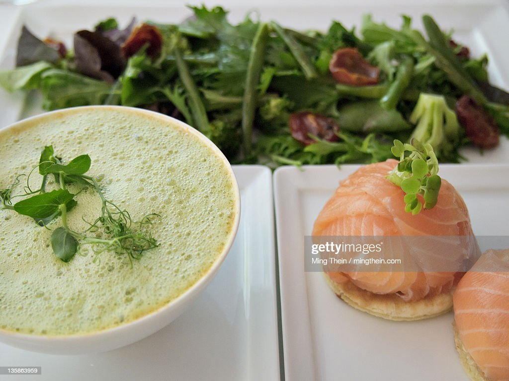 Lunch soup salmon salad white : Stock Photo