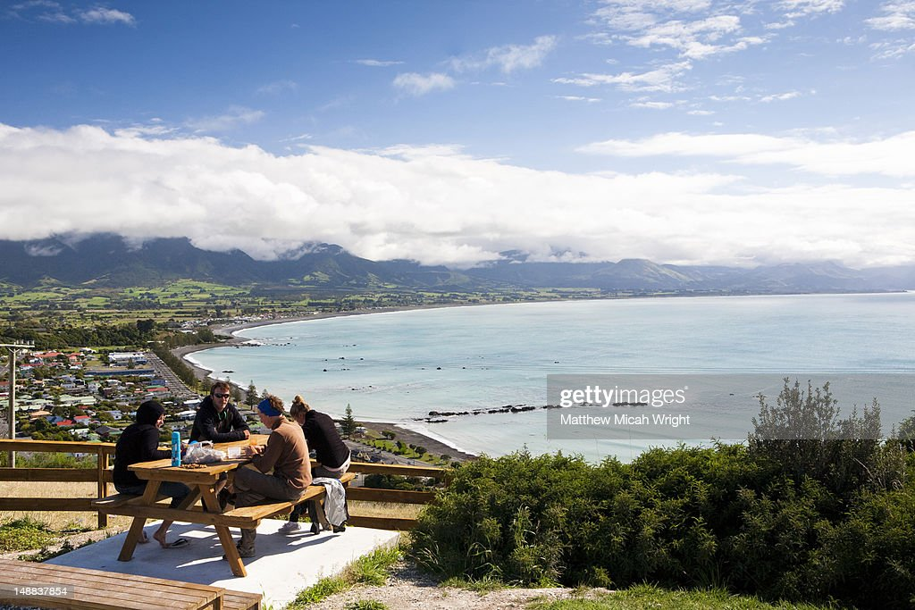 A lunch stop overlooking the Kaikoura harbor