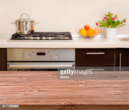 Kitchen Wall Background lunch table on modern kitchen interior background stock photo