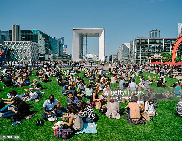 Lunch time at Place de La Defense, Paris, France