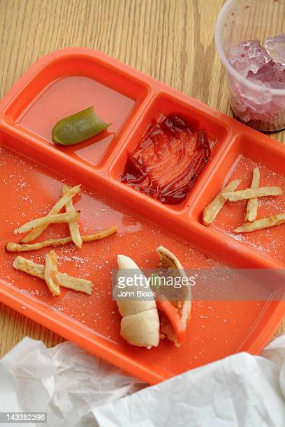 Lunch tray with food remains