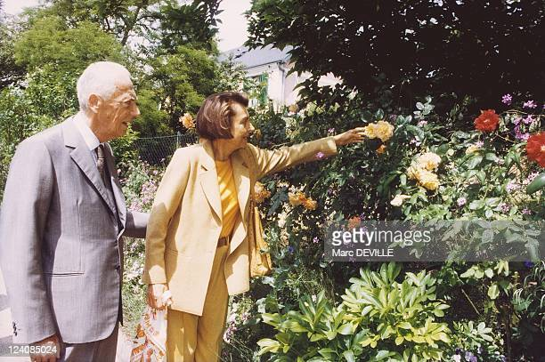 Lunch Van Der Kemp at foundation Claude Monet In May 1999 Andre and Liliane Bettencourt
