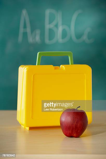 Lunchbox and Red Apple