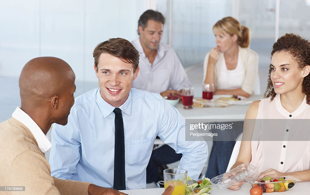 Lunchtime conversation : Stock Photo