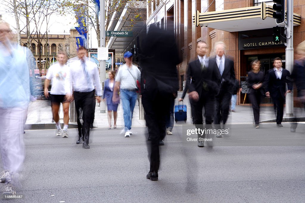 Lunch-time pedestrians in Martin Place.