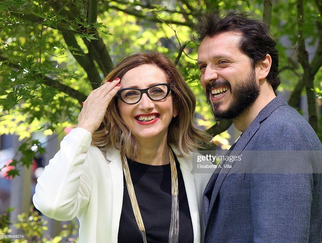 Lunetta Savino and Carmelo Galati attend a photocall for 'Felicia Impastato' RAI TV movie at Viale Mazzini on May 5, 2016 in Rome, Italy.
