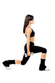 Lunges with handweights pose 2