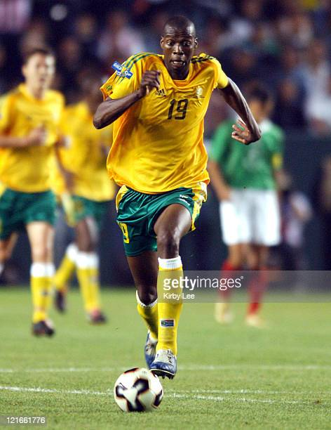 Lungsiani Ndlela of South Africa dribbles ball up field during 21 victory over Mexico in CONCACAF Gold Cup soccer match at the Home Depot Center in...