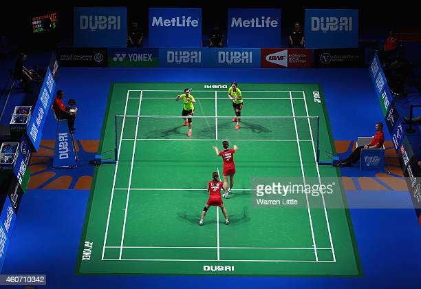 Luo Ying and Luo Yu of China in action against Misaki Matsutomo and Akane Takahashi of Japan during the Women's Doubles match on day four of the BWF...