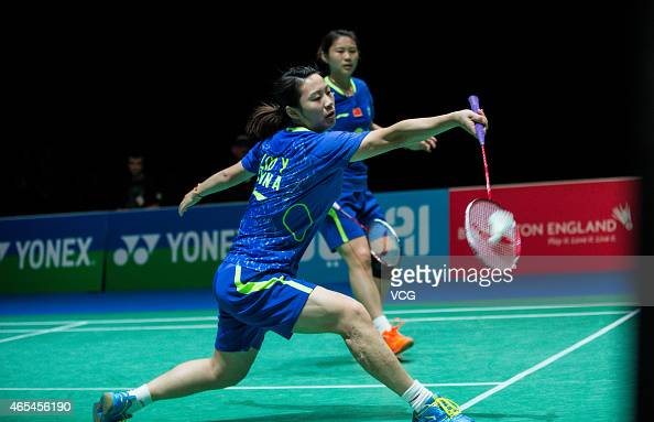 Luo Ying and Luo Yu of China in action during the Women's Doubles match against Yu Yang and Wang Xiaoli of China on day four of YONEX All England...