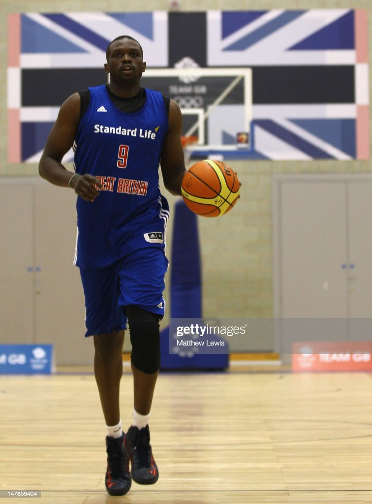 <a gi-track='captionPersonalityLinkClicked' href=/galleries/search?phrase=Luol+Deng&family=editorial&specificpeople=202830 ng-click='$event.stopPropagation()'>Luol Deng</a> of Great Britain in action during the Team GB Basketball Athletes Announcement For London 2012 Olympic Games at Loughborough University on July 5, 2012 in Loughborough, England.
