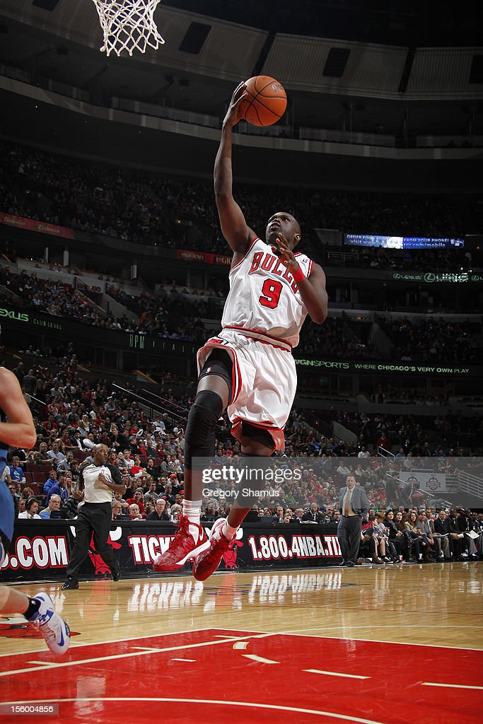 <a gi-track='captionPersonalityLinkClicked' href=/galleries/search?phrase=Luol+Deng&family=editorial&specificpeople=202830 ng-click='$event.stopPropagation()'>Luol Deng</a> #9 of the Chicago Bulls goes to the basket during the game against the Minnesota Timberwolves on November 10, 2012 at the United Center in Chicago, Illinois.