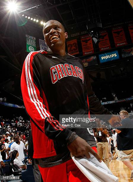 Luol Deng of the Chicago Bulls reacts after their 9373 win over the Atlanta Hawks in Game Six of the Eastern Conference Semifinals in the 2011 NBA...