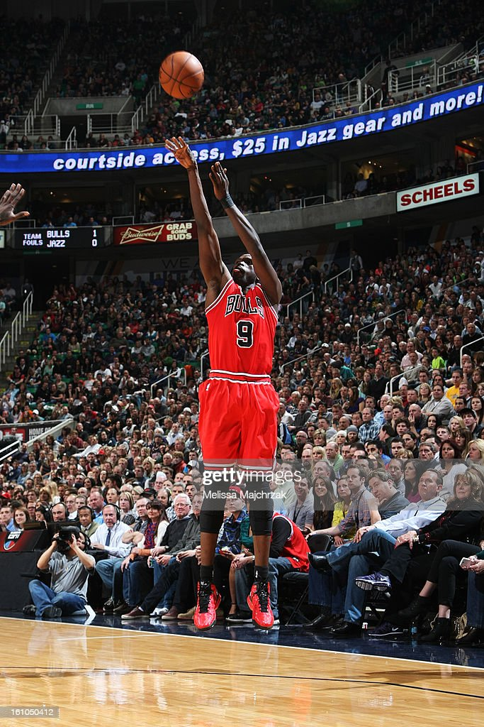 <a gi-track='captionPersonalityLinkClicked' href=/galleries/search?phrase=Luol+Deng&family=editorial&specificpeople=202830 ng-click='$event.stopPropagation()'>Luol Deng</a> #9 of the Chicago Bulls shoots a three-pointer against the Utah Jazz at Energy Solutions Arena on February 08, 2013 in Salt Lake City, Utah.