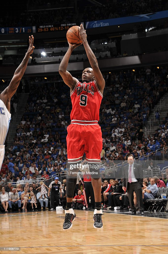 <a gi-track='captionPersonalityLinkClicked' href=/galleries/search?phrase=Luol+Deng&family=editorial&specificpeople=202830 ng-click='$event.stopPropagation()'>Luol Deng</a> #9 of the Chicago Bulls shoots against the Orlando Magic on April 10, 2011 at the Amway Center in Orlando, Florida.