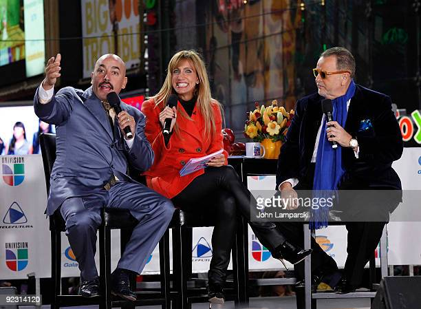Lupillo Rivera Lili Estefan and Raul de Molina attend the launch of the ''Lo Mejor On Demand'' channel in Times Square on October 23 2009 in New York...