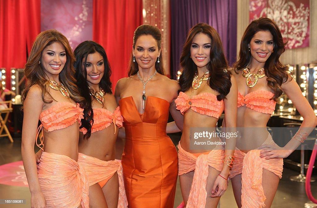Lupita Jones, Barbara Falcon, Essined Aponte, Viviana Ortiz and Zuleika Silver attend Univisions Nuestra Belleza Latina Finalists Revealed at Univision Headquarters on March 31, 2013 in Miami, Florida.