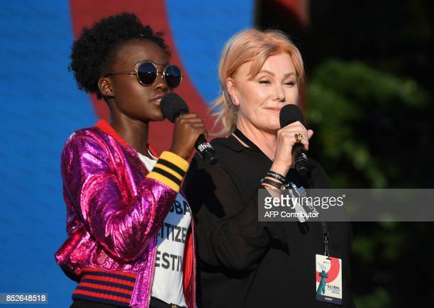 Lupita Nyong'o and DeborraLee Furness speak onstage during the 2017 Global Citizen Festival For Freedom For Justice For All in Central Park on...