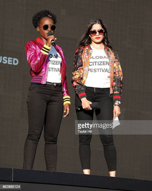 Lupita Nyong'o and Freida Pinto speak during the 2017 Global Citizen Festival at The Great Lawn of Central Park on September 23 2017 in New York City