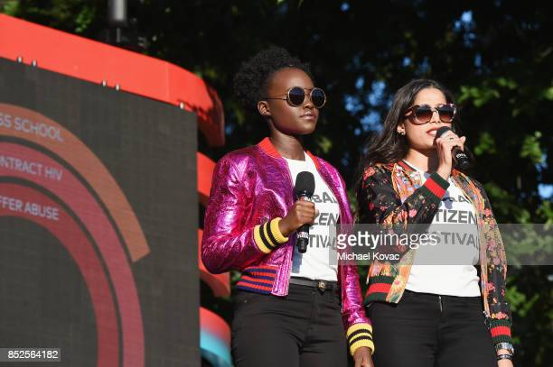 Lupita Nyong'o and Freida Pinto speak onstage during Global Citizen Festival 2017 at Central Park on September 23 2017 in New York City