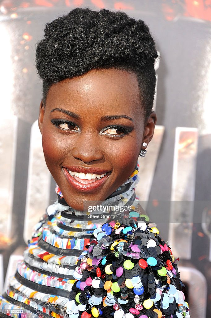 Lupita Nyong'o arrives at the 2014 MTV Movie Awards at Nokia Theatre L.A. Live on April 13, 2014 in Los Angeles, California.