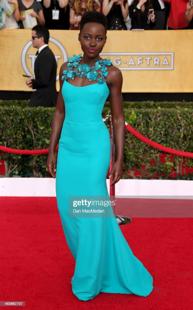 Lupita Nyong'o arrives at the 20th Annual Screen Actors Guild Awards at the Shrine Auditorium on January 18, 2014 in Los Angeles, California.