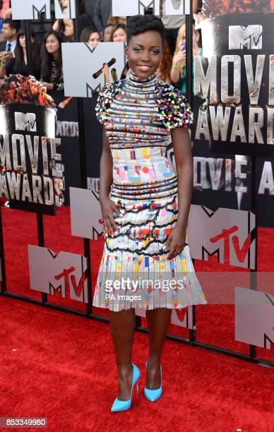 Lupita Nyong'o arriving at The MTV Movie Awards 2014 at the Nokia Theatre LA Live Los Angeles