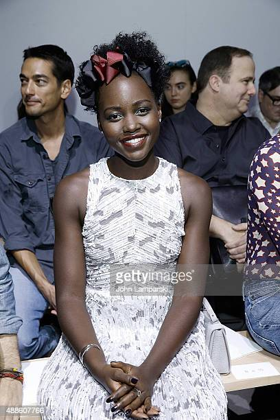 Lupita Nyong'o attends the Boss Womenswear show during Spring 2016 New York Fashion Week The Shows on September 16 2015 in New York City